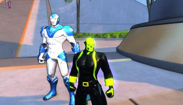 Green Skull standing next to Defender, who seems to be oversized
